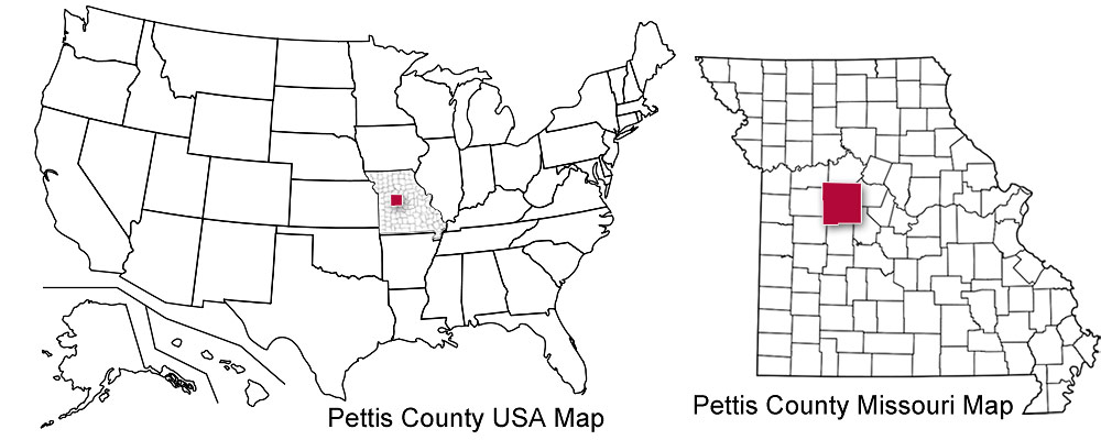 Pettis County United States and State Map